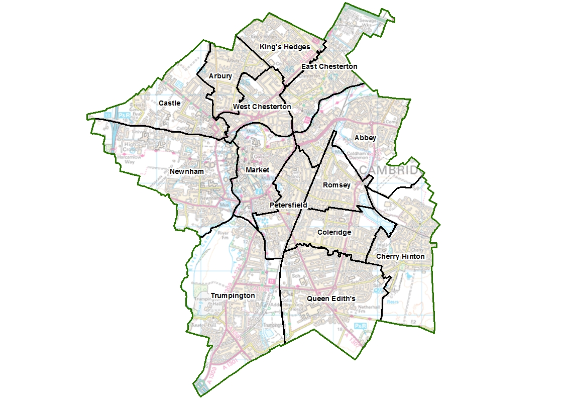 Map of Cambridge City Council final recommendations