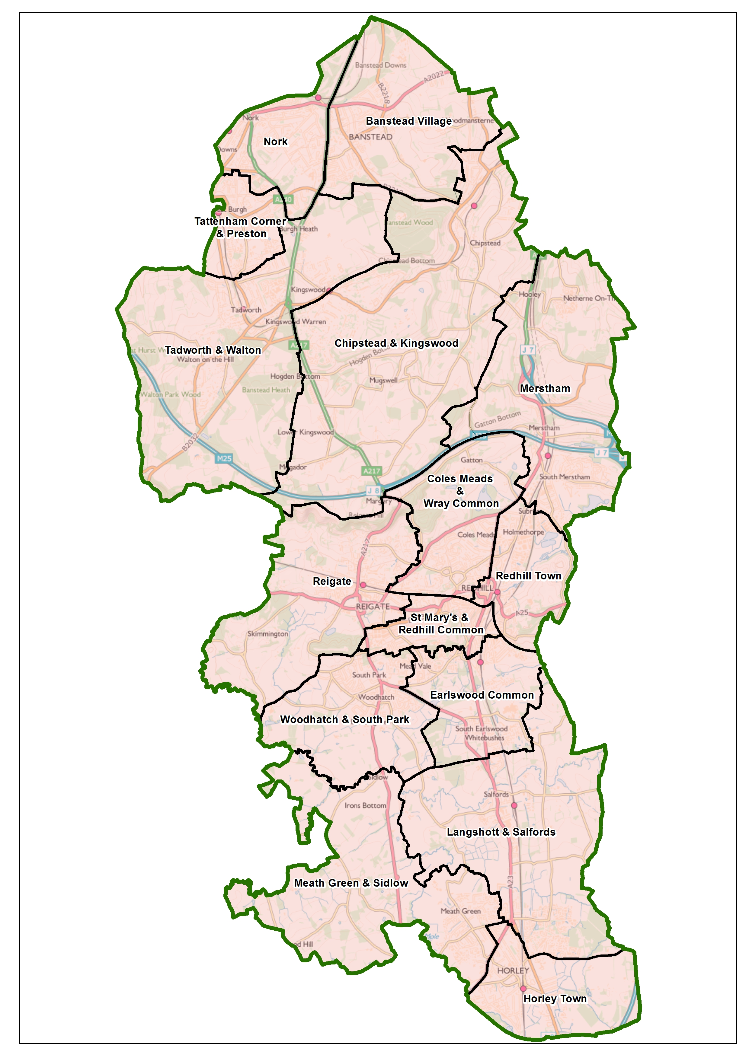 Reigate and Banstead draft recommendations map
