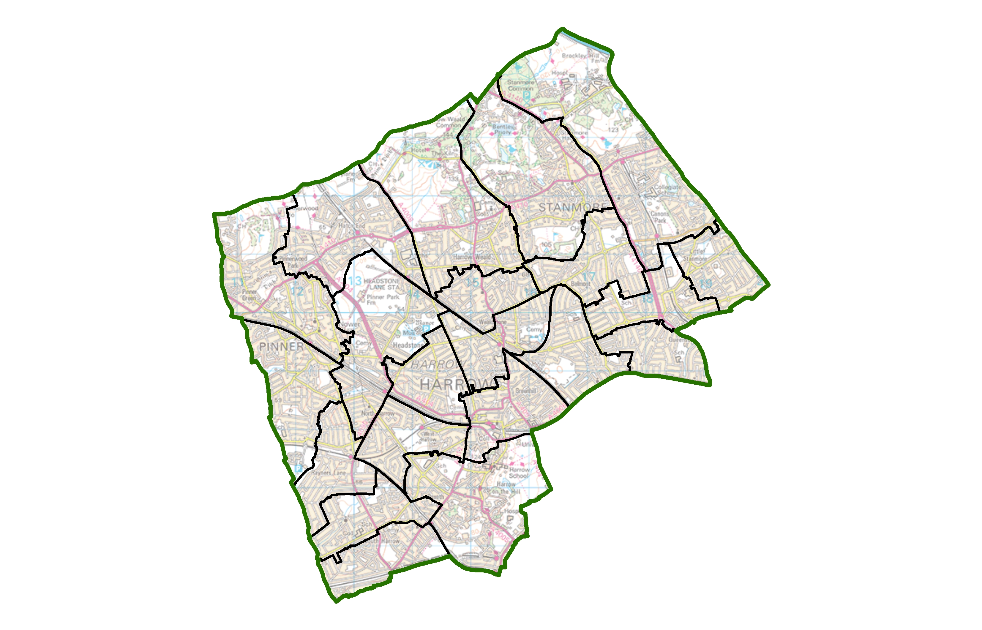 Ward map of Harrow